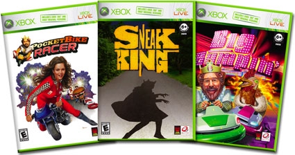 PocketBike Racer, Big Bumpin', and Sneak King Xbox covers.