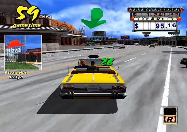 Screenshot of CrazyTaxi with visible Pizza Hut theme