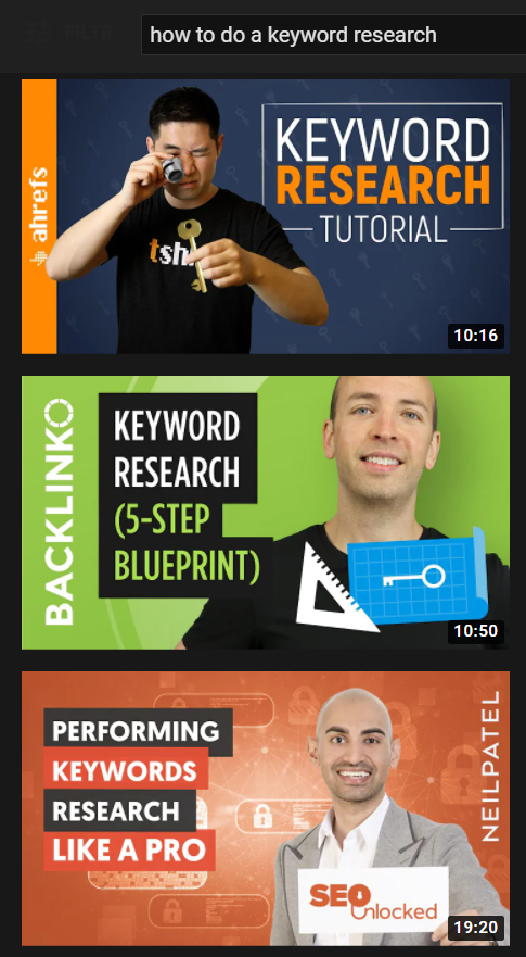 how to do a keyword research youtube