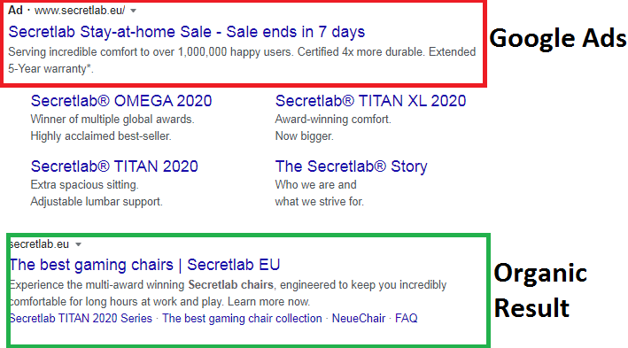 Organic and Paid Search Results concerning best gaming chairs