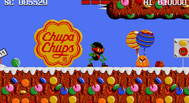 Screenshot of Zool game with attention-attracting Chupa Chups logo