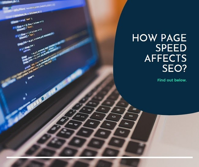 a caption 'how page speed affects SEO?' with a computer code on a laptop screen in the background
