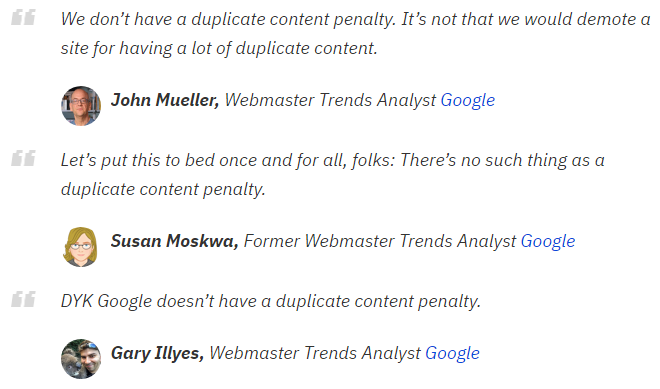 Collection of Google analysts' opinions on content penalty