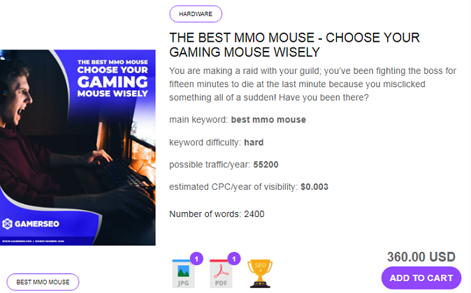 an exemplary article on gaming topic from GamerSEO agency