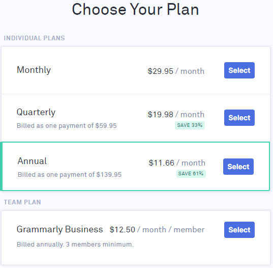 Plan options in Grammarly