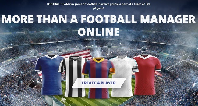 landing page of software product FootballTeam game