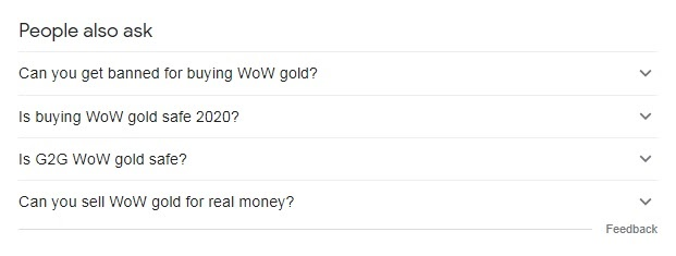 """examples of user queries on keyword """"wow gold"""" from people also ask"""