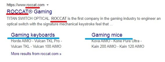 Roccat website in search results with underlined word Roccat in the title, URL, and meta description