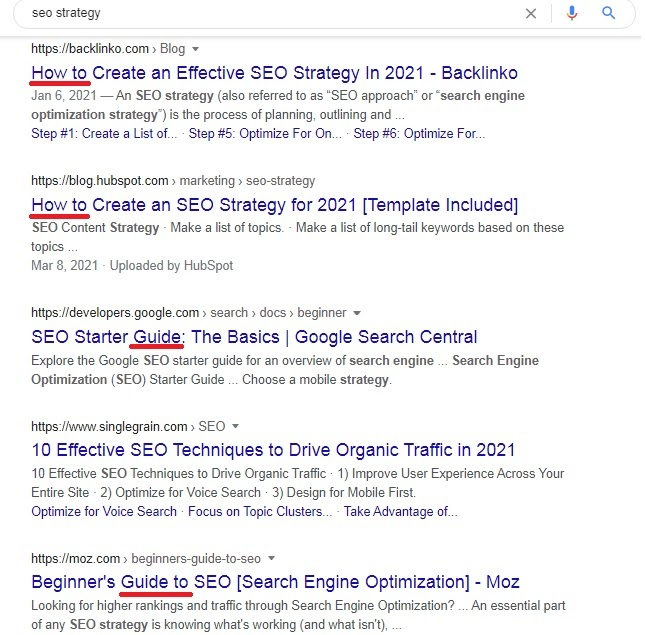 search results regarding query 'SEO strategy'