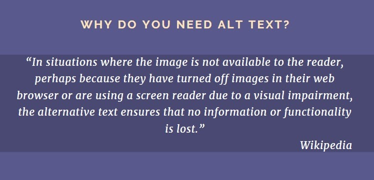 quotation explaining why alt text is needed in well-optimized SEO copywriting