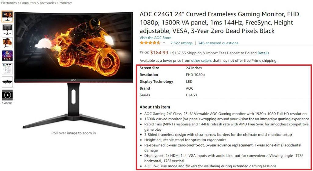 part of AOC C24g1 amazon product description