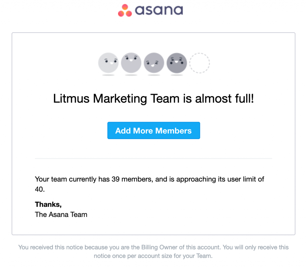 Asana newsletter repurchase marketing with a great sales pitch