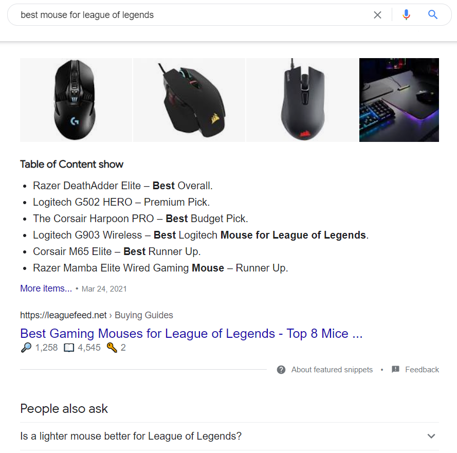 best mouse for League of legends search results