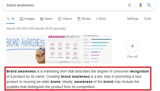 featured snippet on query 'brand awareness'
