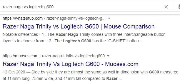 query 'razer naga vs. Logitech g600' as an example of commercial investigation