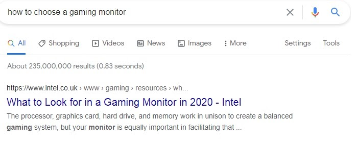 Intel page as an example from Google rankings on query 'how to choose a gaming monitor'