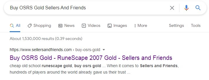 SellersandFriends as a Google search result on query 'Buy OSRS gold SAF'