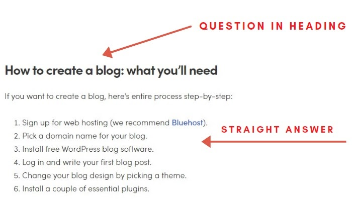 fragment of guide 'how to create a blog' with arrows pointing at the heading and the beginning of the paragraph