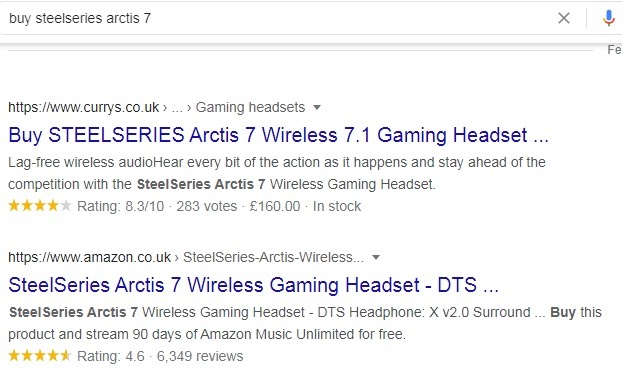 query buy SteelSeries arctis 7 as an example of transactional intent