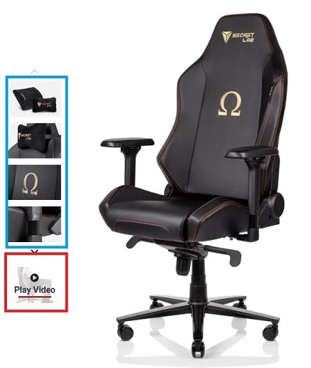 Secretlab gaming chair with marked images and video