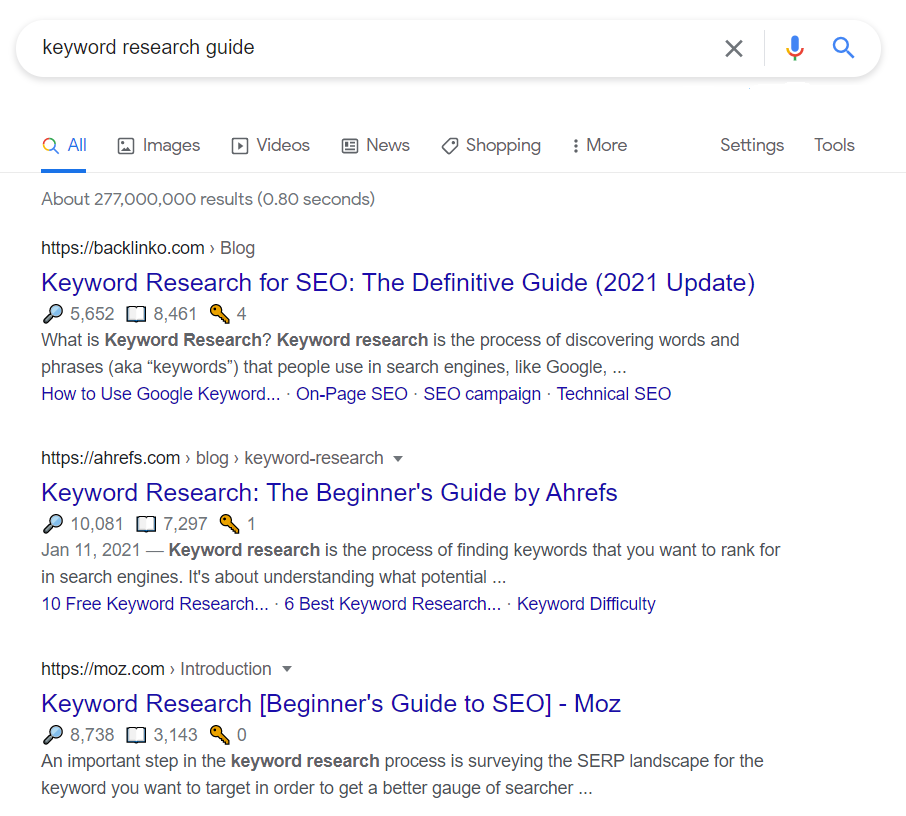 KW research guide SERP