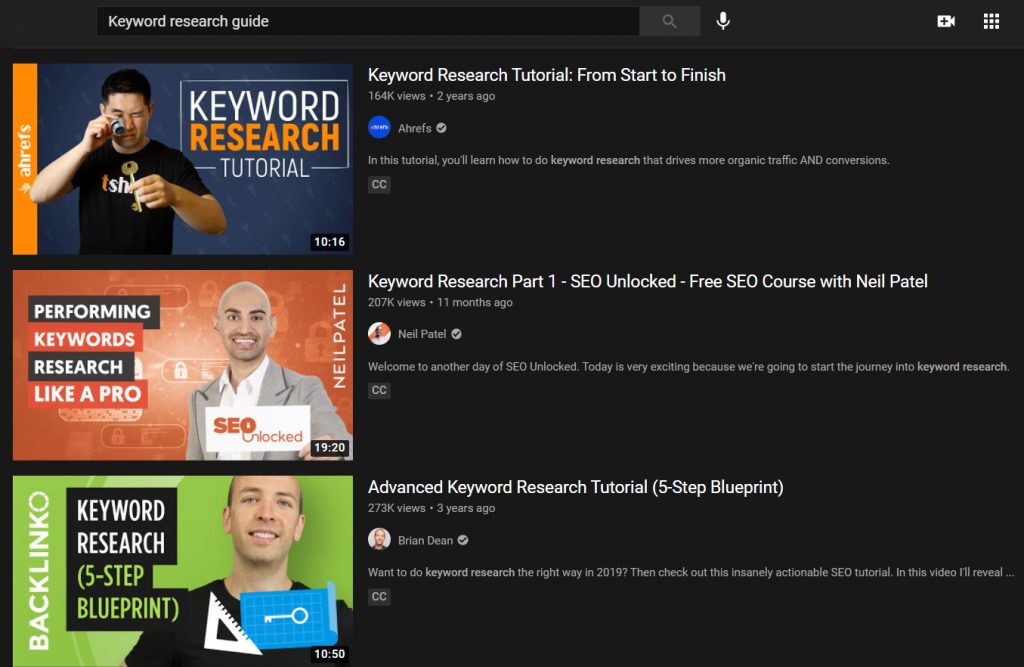 keyword research guide Youtube results