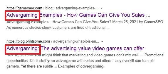 example on how to use keywords in the title tag