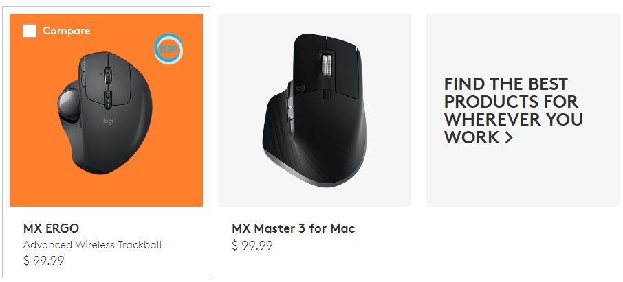 comparison of two offerings by Logitech - MX ERGO and MX Master 3