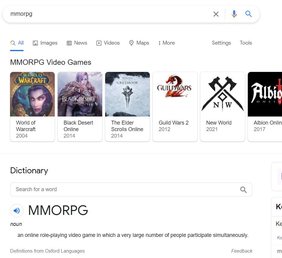 MMORPG video games in SERP