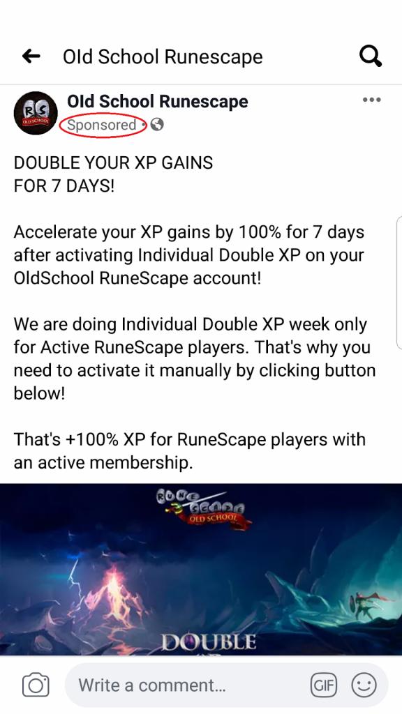 Runescape FB content. Native advertising example