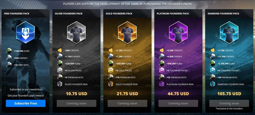 footballteam game menu presenting packs