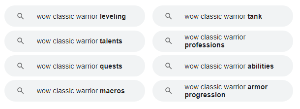 related searches concerning query 'wow classic warrior'