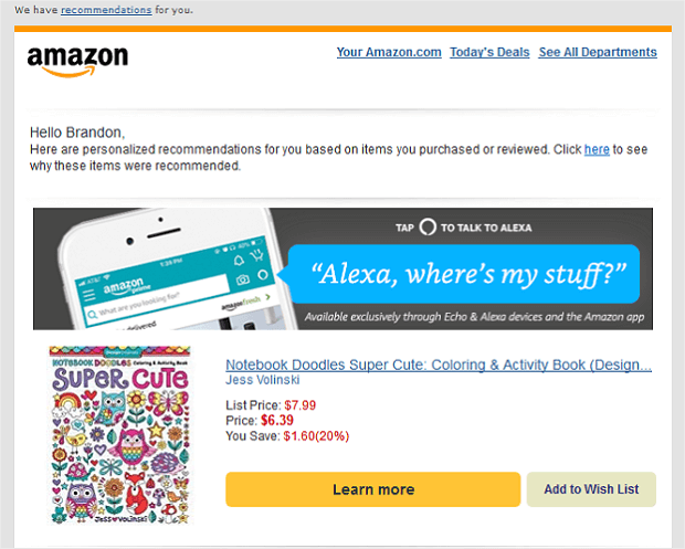 how Amazon uses email addresses to get repeat customers