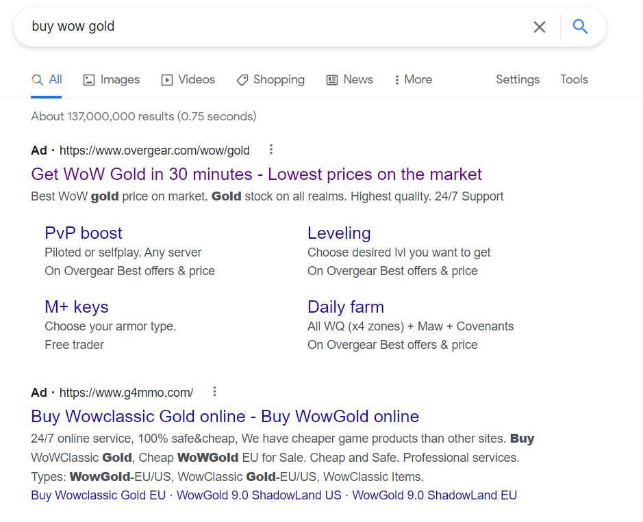 SERP for buy wow gold