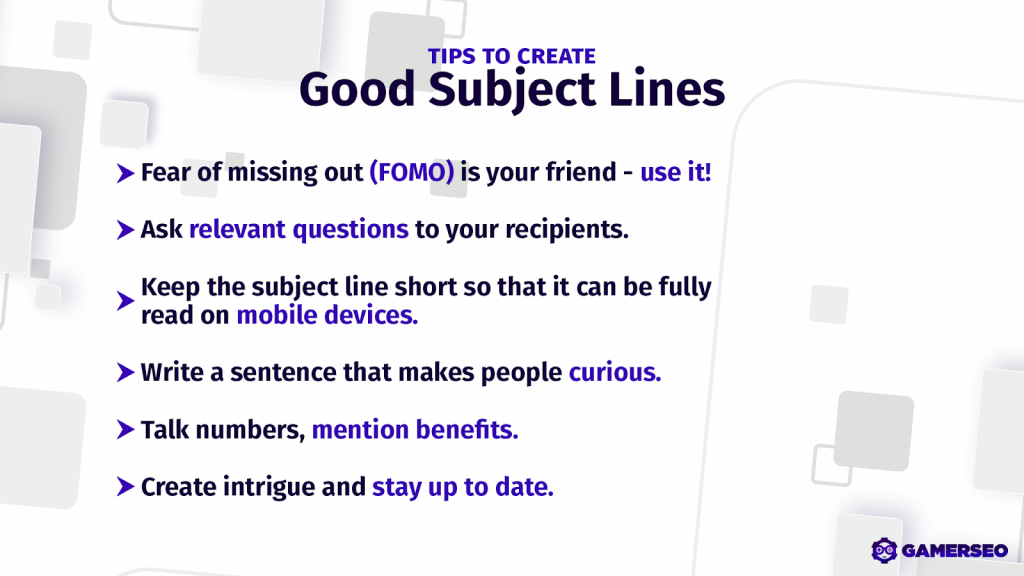 tips to create good subject lines