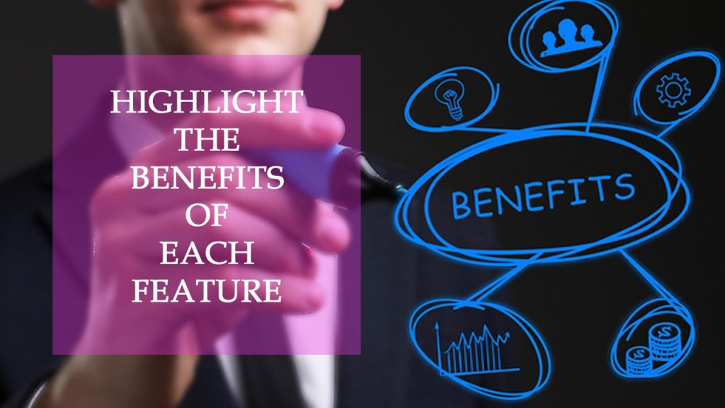 Benefits and features in product descriptions