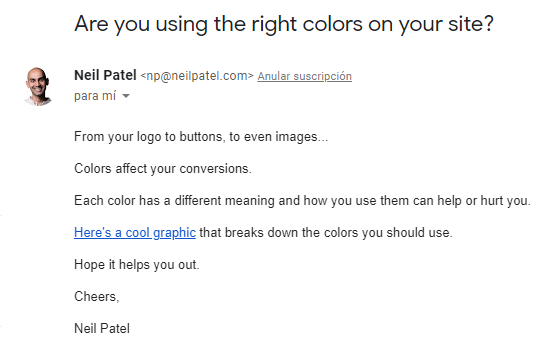 unique email click-through rate example in a classic weekly newsletter