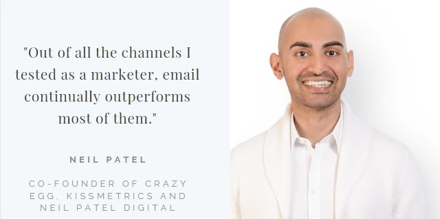 Quote of Neil Patel on the power of email campaigns
