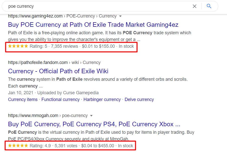SERP poe currency