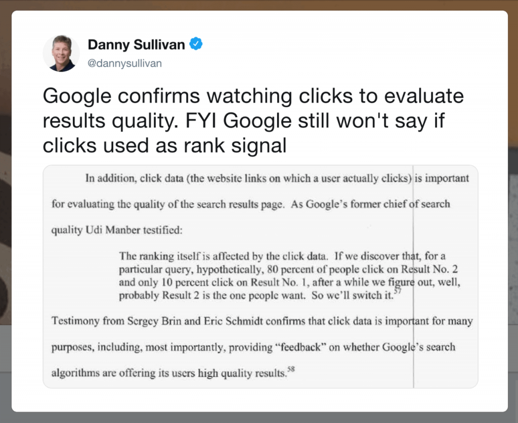 Comment in Twitter confirming Google evaluates results quality