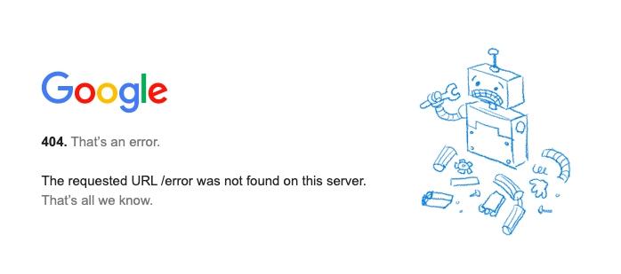 landing page 404 error example