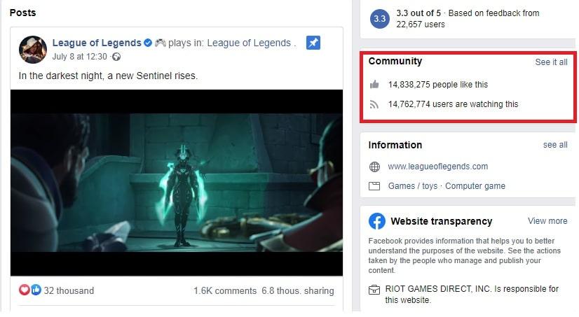 League of Legends Facebook Fanpage