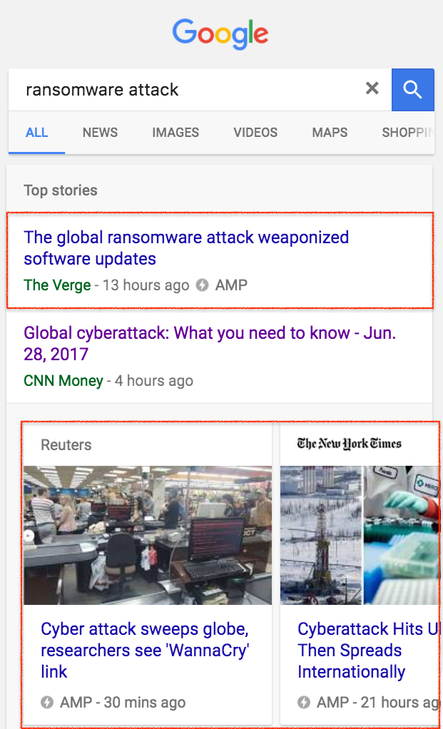 """example of amp pages in search engine results pages on the query """"ransomware attack"""""""