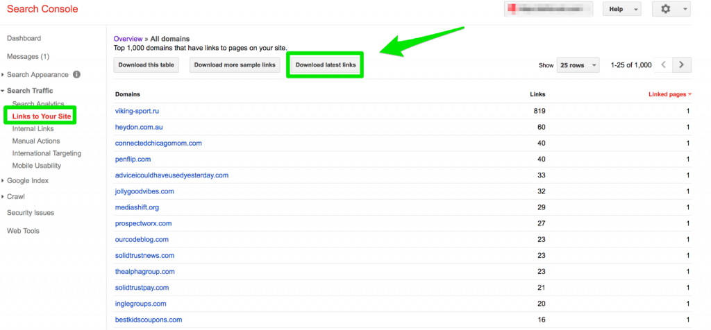 tutorial how to find backlink profiles in google search console
