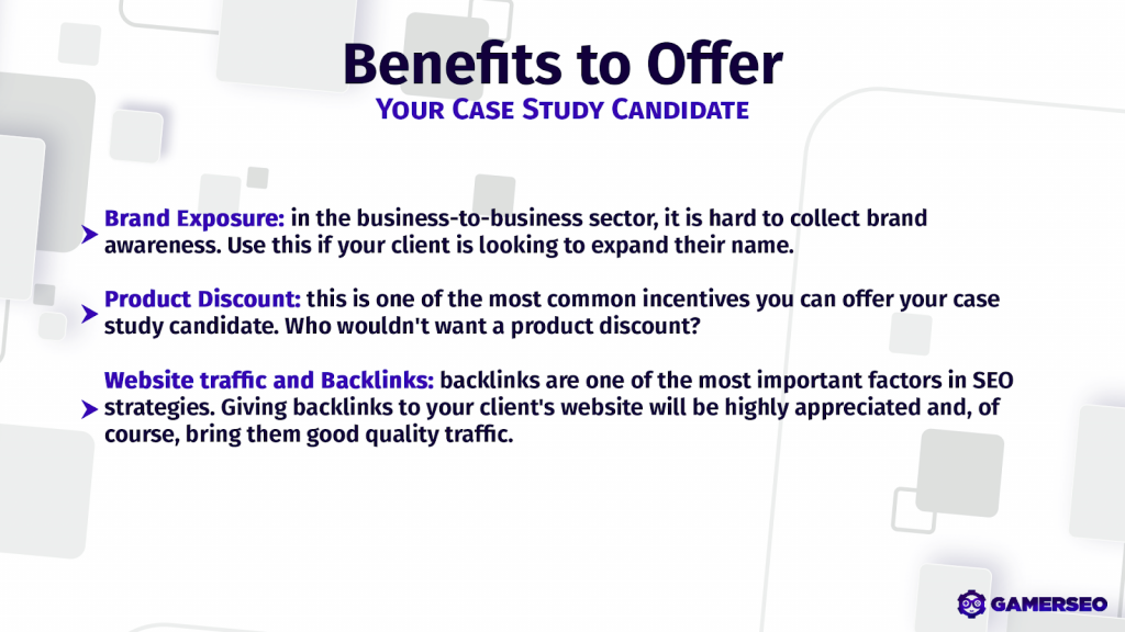 back links and a group of benefits to offer a candidate of a case study