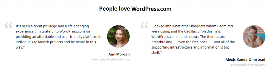 different types of customer reviews on WordPress.com written by other sites' representatives