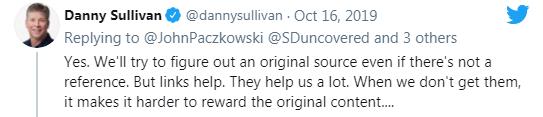 tweet of Danny Sullivan showing the reason why links help Google