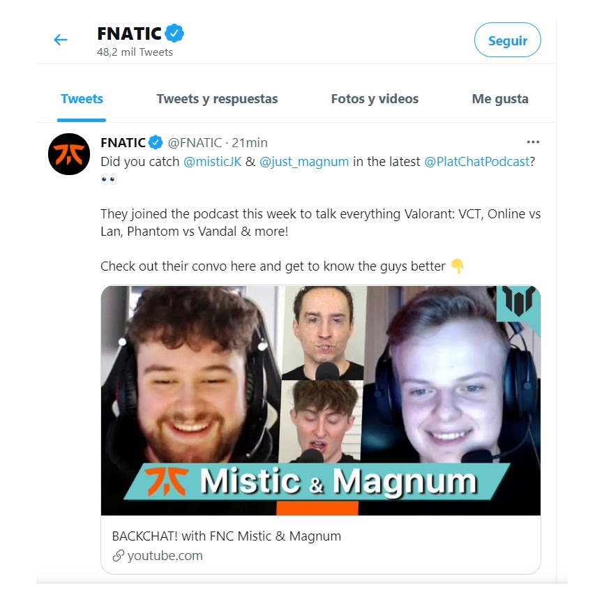 FNATIC Twitter post to get traffic to its Facebook Groups and channels