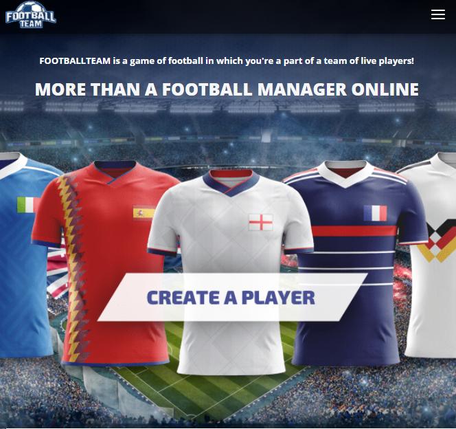 footballteam game main menu and home page