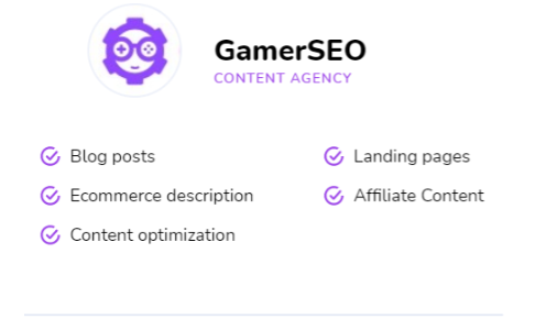 a list of GamerSEO services